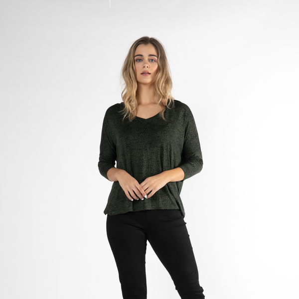 Betty Basics | Bibao Top - Olive & Black Terrain | Shut the Front Door