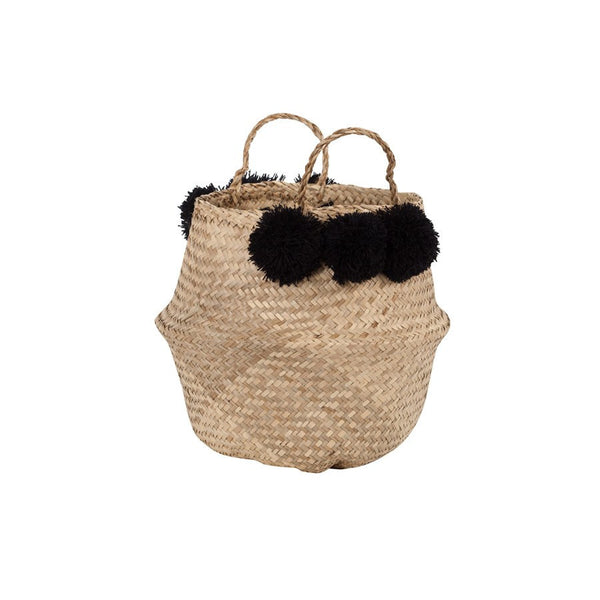 General Eclectic | Seagrass Belly Basket  Black Pom Pom | Shut the Front Door