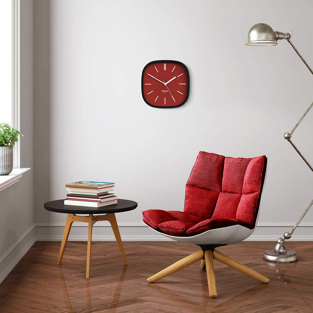 Space Hotel | Moontick Wall Clock Maroon | Shut the Front Door