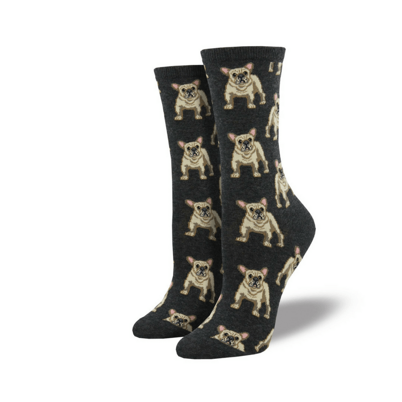 Socksmith | Socks Womens Crew Frenchie Charcoal | Shut the Front Door