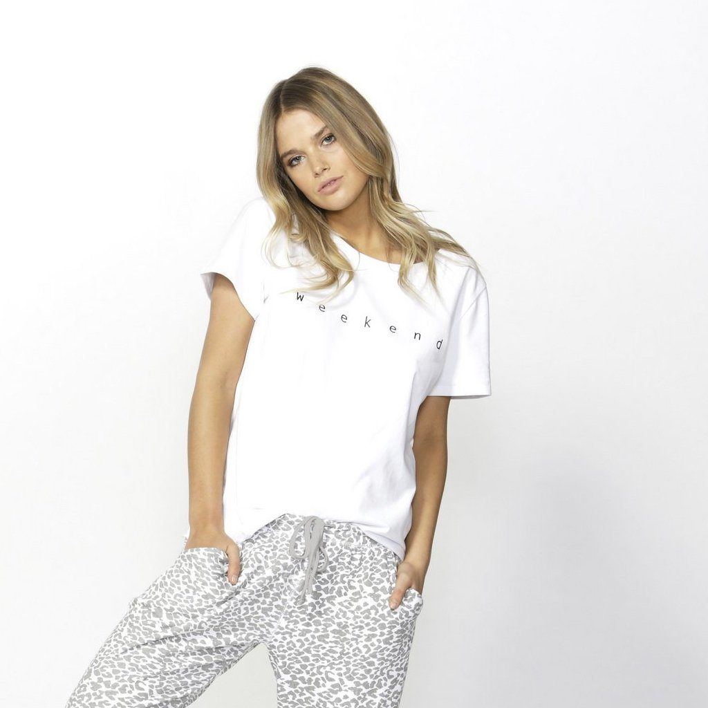 Betty Basics | Cara Weekend Tee - White | Shut the Front Door