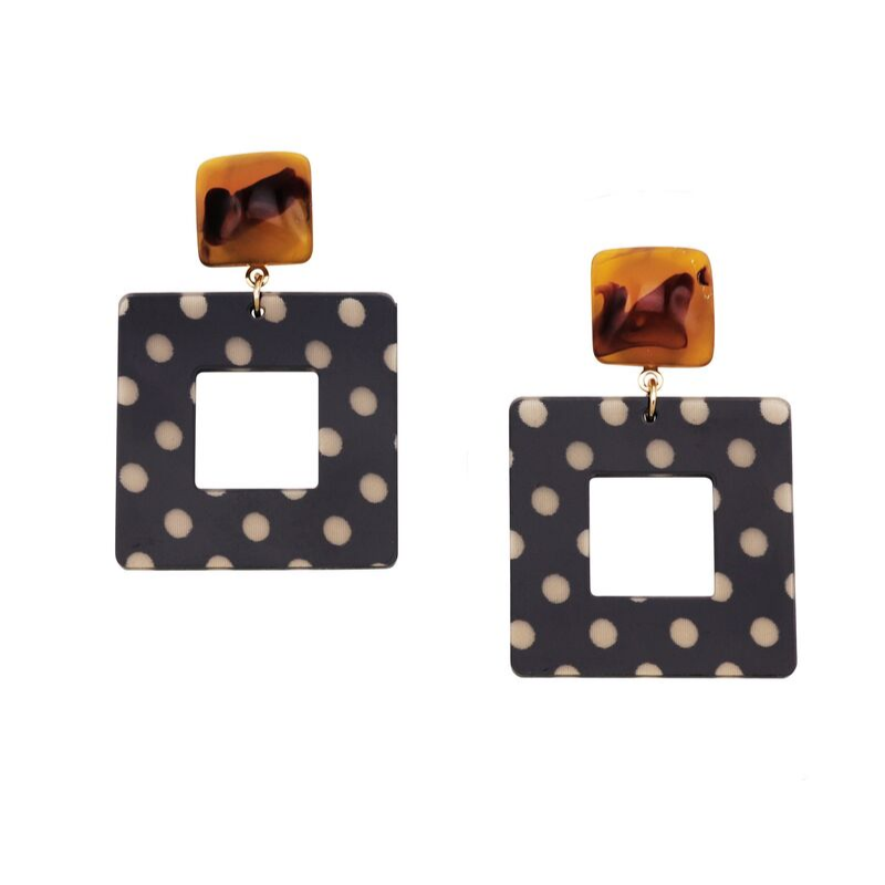 Tiger Tree | Squared Polka Dot Earrings - Black | Shut the Front Door