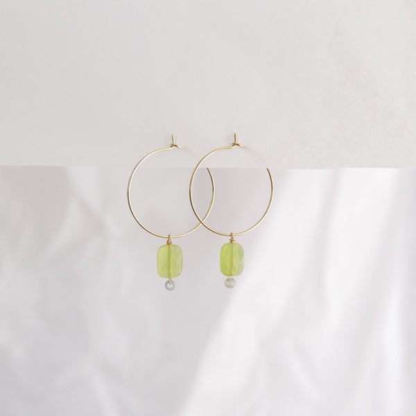 Hydrangea Ranger | Gold Hoops - Rectangle Green Agate | Shut the Front Door