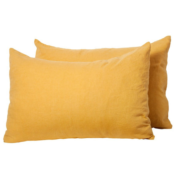 General Eclectic | Linen Pillowcases Set of 2 SAFFRON | Shut the Front Door