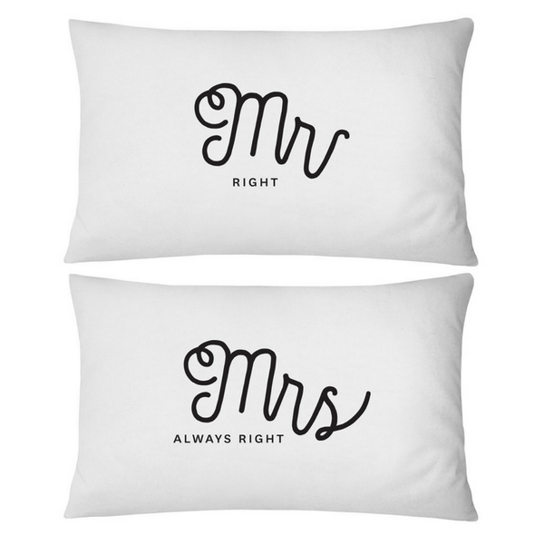 Pillow Case Set 2 Mr Mrs Right WHITE