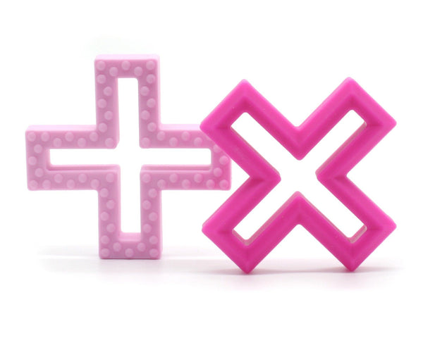 Lulu Lala | Cross Silicone Teether Pink Set of 2 | Shut the Front Door