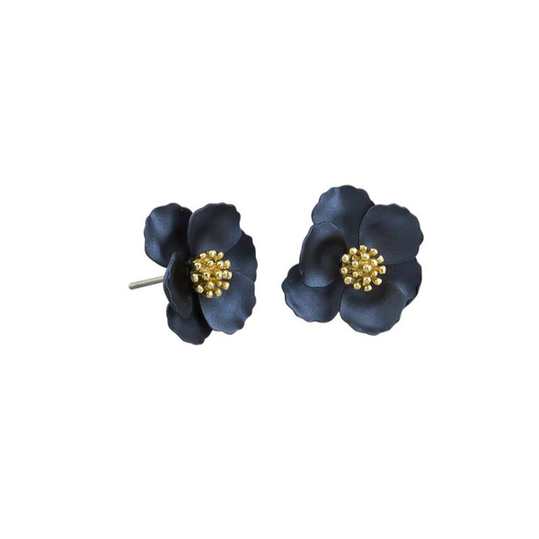 Tiger Tree | Pansy Earrings - Navy | Shut the Front Door
