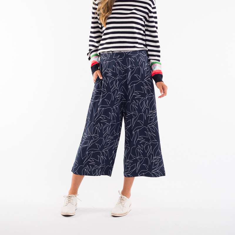 Elm Knitwear | Linear Leaf Pant - Navy | Shut the Front Door