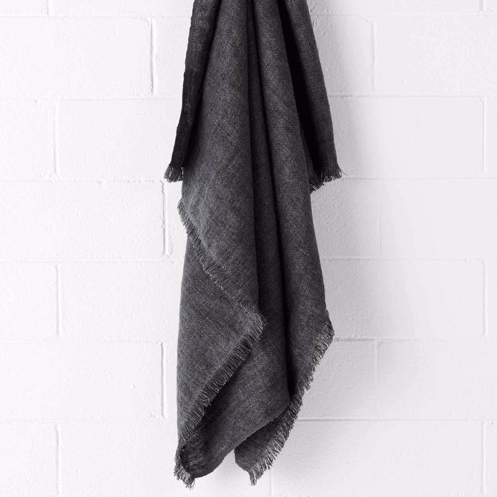 Aura | Vintage Linen Throw FLINT | Shut the Front Door