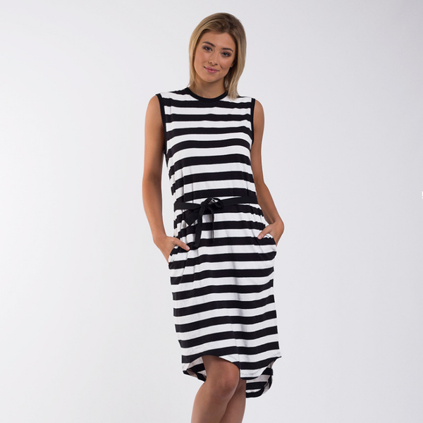 Foxwood | Jimbaran Bay Dress - Black & White Stripe | Shut the Front Door