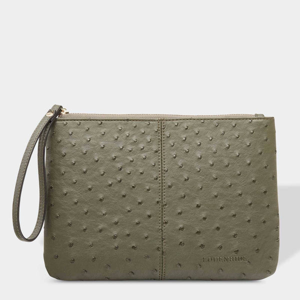 Louenhide | Wikki Large Ostrich Clutch - Khaki Green | Shut the Front Door