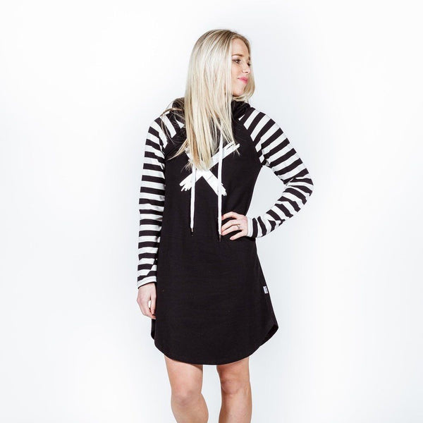 Home-lee | Hooded Dress B/W Stripe Sleeves | Shut the Front Door
