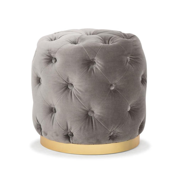 Me & My Trend | Chester Button Mini Ottoman - Velvet Mouse Grey | Shut the Front Door