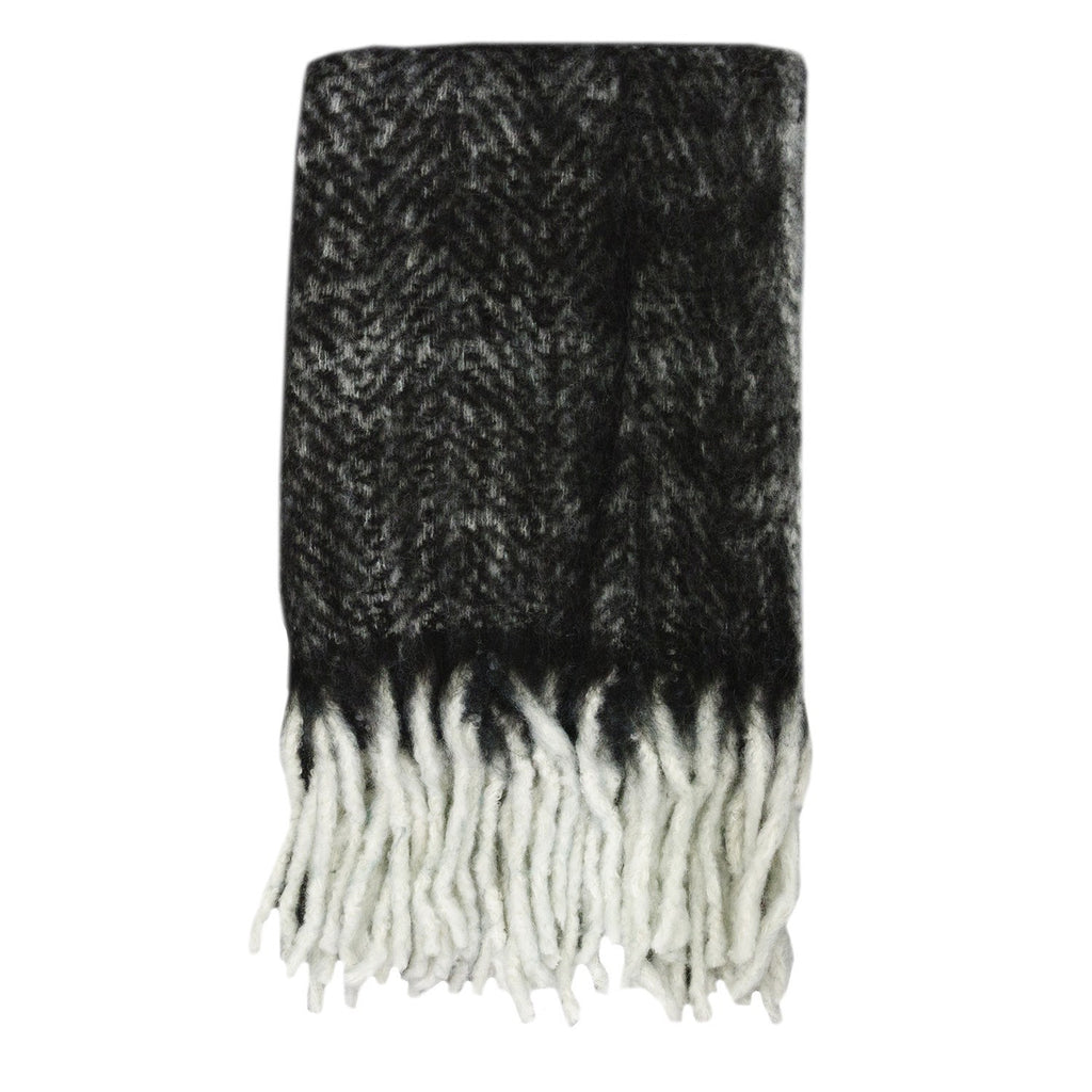 Kerridge Linen | Bliss Mohair Blend Throw Bumble Fringe BLACK/IVORY | Shut the Front Door