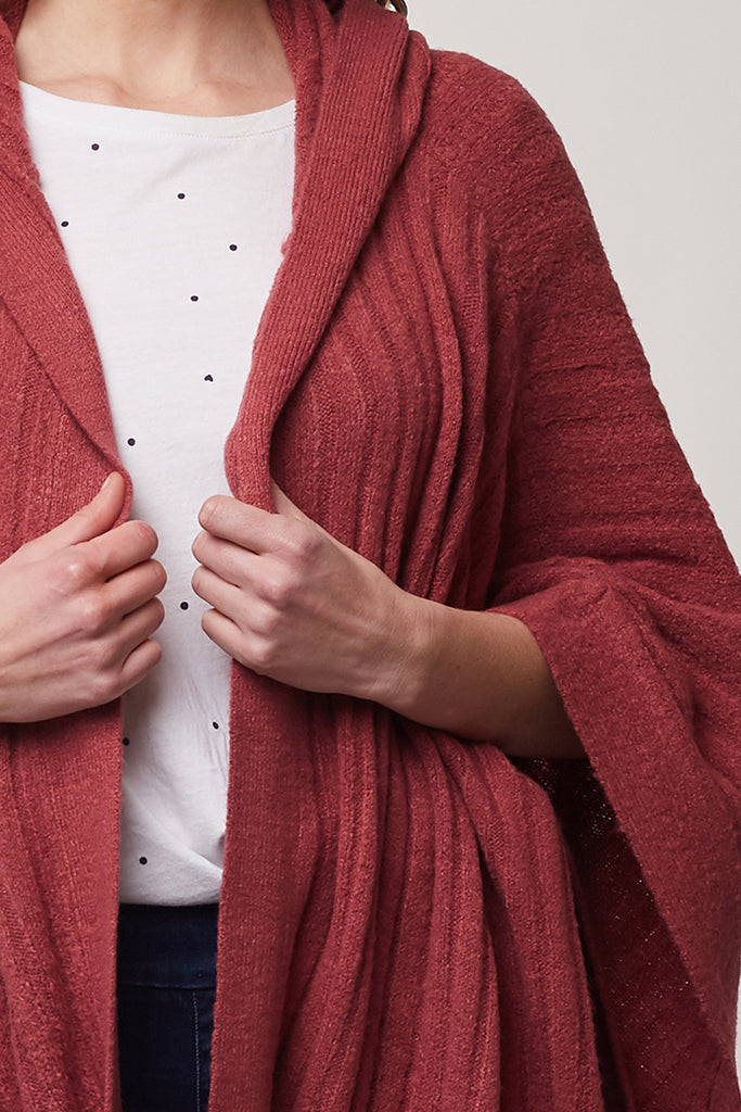 Elm Knitwear | Peony Knit Poncho - ROSE | Shut the Front Door