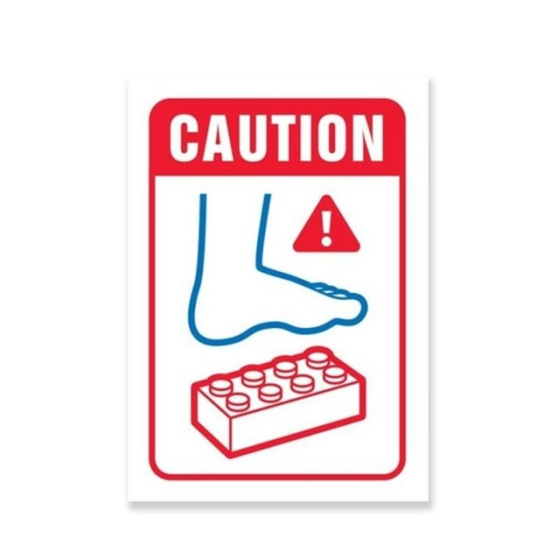 Just Great Design | Lego Warning Wooden Sign | Shut the Front Door