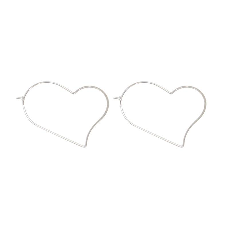 Olive Tiger | Hurley Heart Earrings - Rhodium Silver | Shut the Front Door