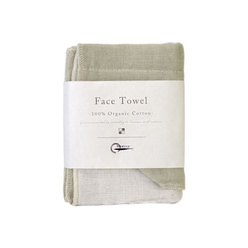 Nawrap | Organic Cotton Face Towel - Green/Ivory | Shut the Front Door