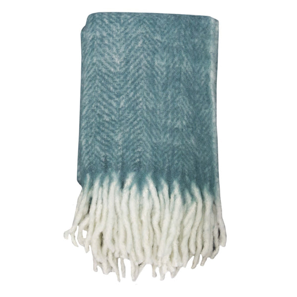 Bliss Mohair Blend Throw Bumble Fringe NILE BLUE/IVORY