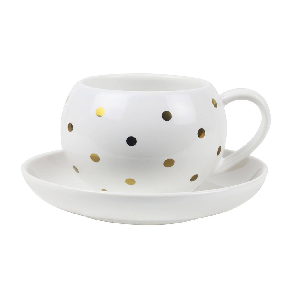 Robert Gordon | Hug Me Cup&Saucer White/Gold Spot | Shut the Front Door