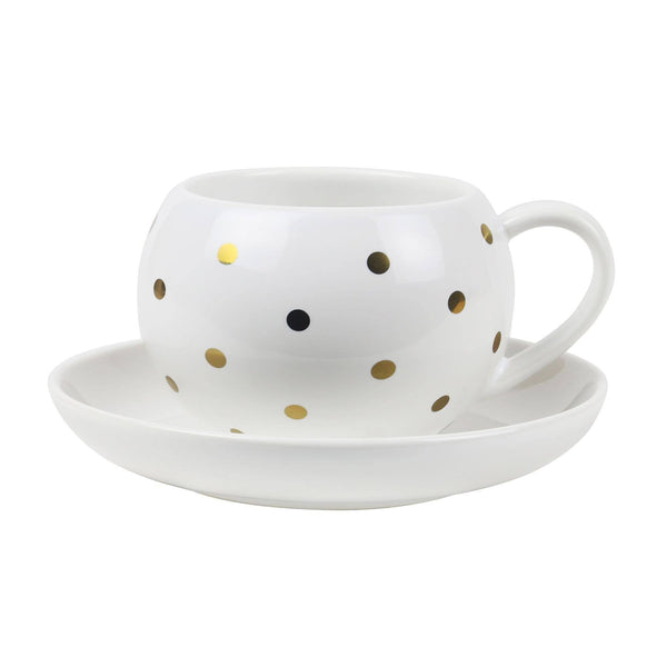 Robert Gordon | Hug Me Cup & Saucer - White/Gold Spot | Shut the Front Door
