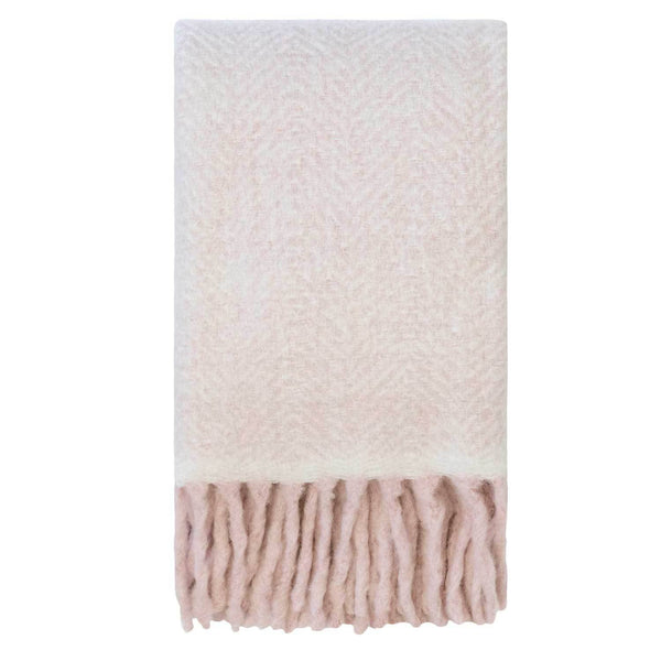 Kerridge Linen | Bliss Mohair Blend H/Bone Throw ROSE SMOKE | Shut the Front Door