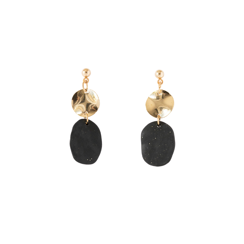 Antler NZ | Earrings Hoop Disc & Gold Circle - Black | Shut the Front Door