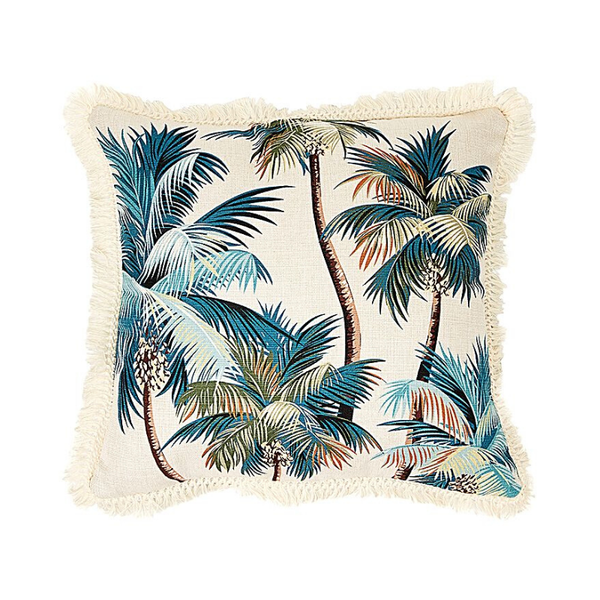 Escape to Paradise | Palm Trees Cushion - Natural Fringe 45x45cm | Shut the Front Door