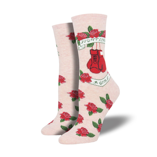 Socksmith | Women's Fight Like A Girl Socks - Pink | Shut the Front Door