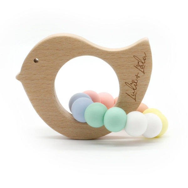 Lulu Lala | Tweet Bird - Beechwood Teething Toy - Pastels | Shut the Front Door