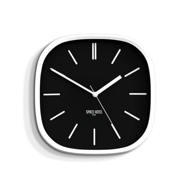 Space Hotel | Moontick Wall Clock Black | Shut the Front Door