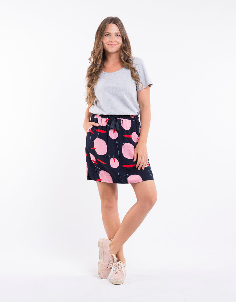 Elm Knitwear | Luna Skirt - Navy Print | Shut the Front Door