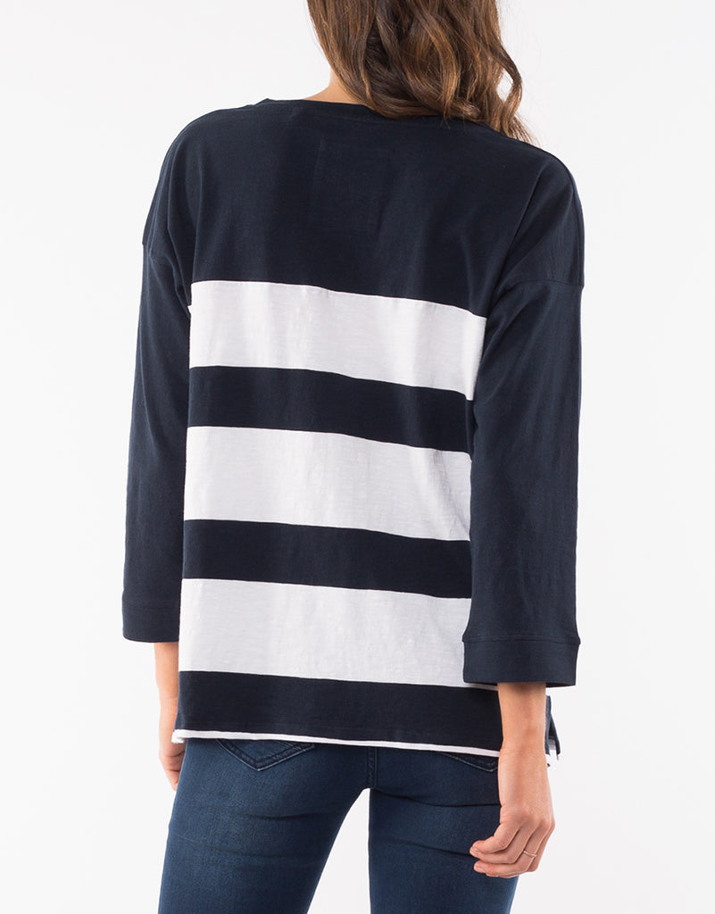 Elm Knitwear | Stripe Tie Tee - Navy | Shut the Front Door