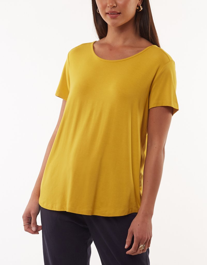 Elm Knitwear | Sierra Luxe Tee - Mustard | Shut the Front Door