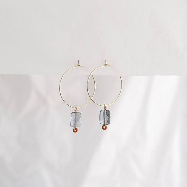 Hydrangea Ranger | Gold Hoops - Rectangle Smokey Grey Agate | Shut the Front Door
