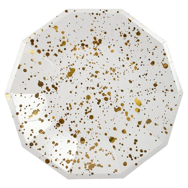 Meri Meri | Gold Splatter Plate Large | Shut the Front Door