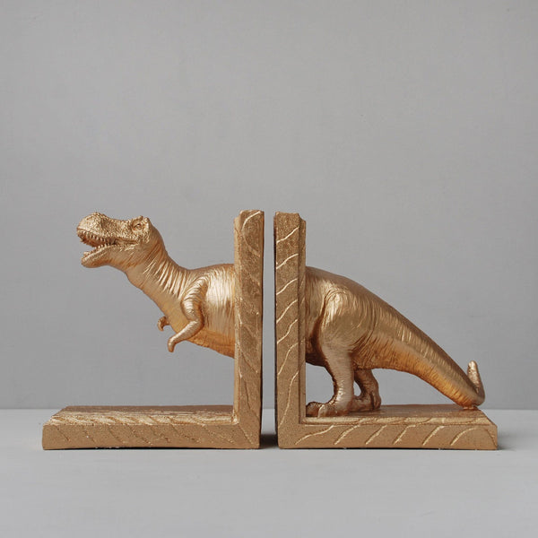 White Moose | T-Rex Bookends (set) GOLD | Shut the Front Door