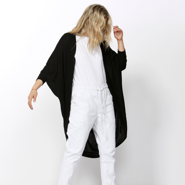 Betty Basics | Santorini Drape Cardigan BLACK | Shut the Front Door