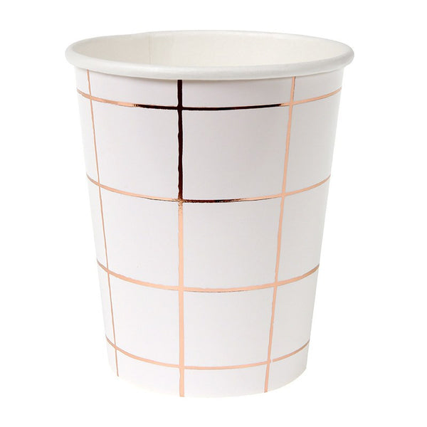 Meri Meri | Party Cups Grid Rose Gold Pk 8 | Shut the Front Door