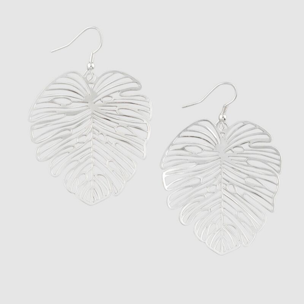 Tiger Tree | Silver Festive Monstera Earrings | Shut the Front Door