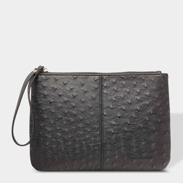 Louenhide | Wikki Large Ostrich Clutch - Black | Shut the Front Door