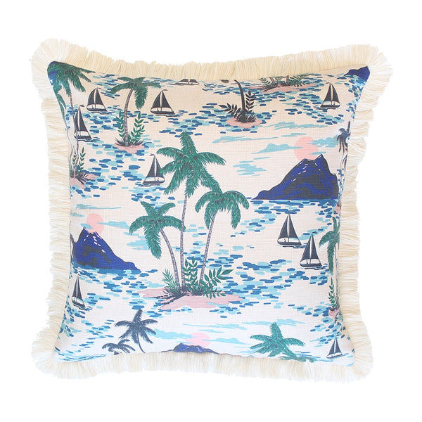 Escape to Paradise | Vacation Outdoor Natural Fringe Cushion - 45x45cm | Shut the Front Door