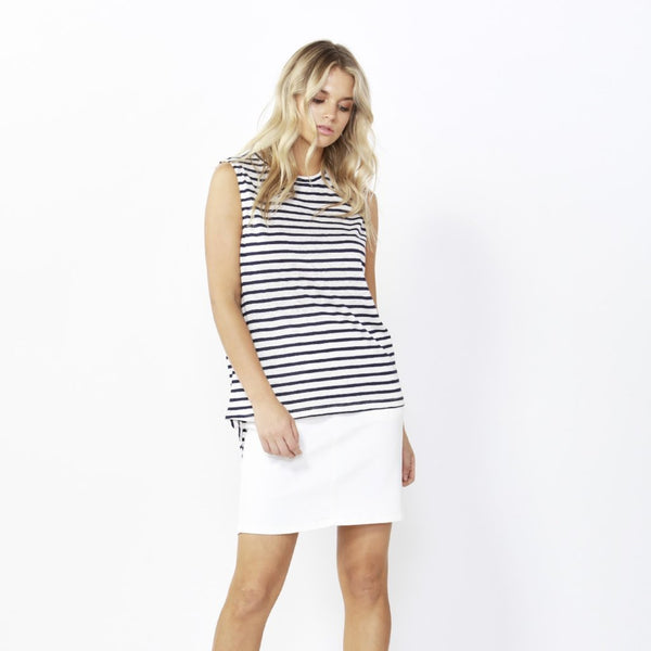 Betty Basics | Capri Tank White/Ink Stripe | Shut the Front Door