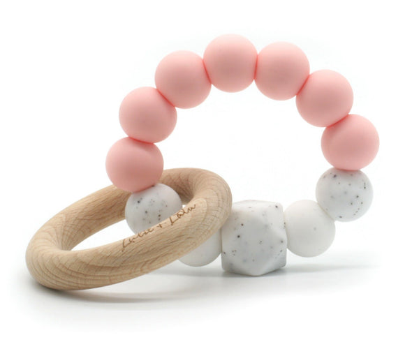 Lulu Lala | Lala Silicone/Wood Ring Teething Toy Pink | Shut the Front Door