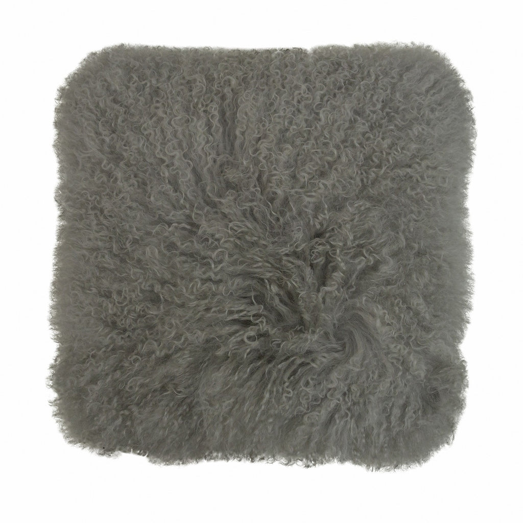 Not specified | Cushion Tibetan Lamb Fur Square LIGHT GREY | Shut the Front Door