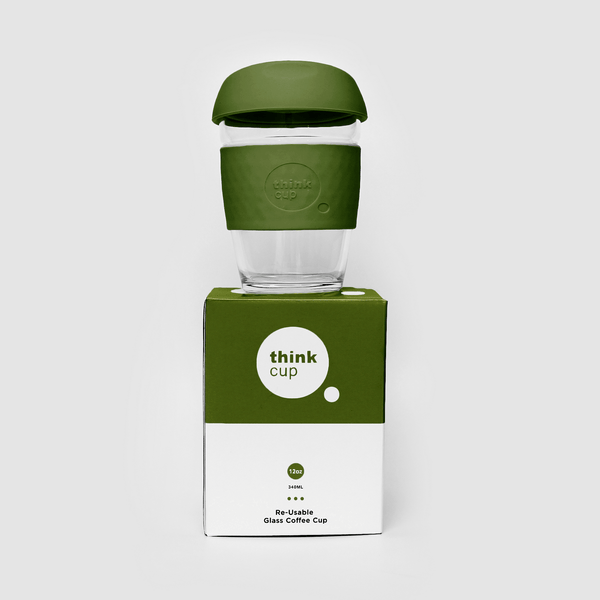 Think Cup | Think Cup Reusable Glass Coffee Cup 12oz Moss | Shut the Front Door