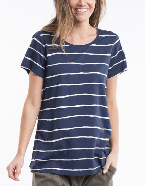 Elm Knitwear | Shimmer Stripe Tee Navy/Silver Metallic | Shut the Front Door