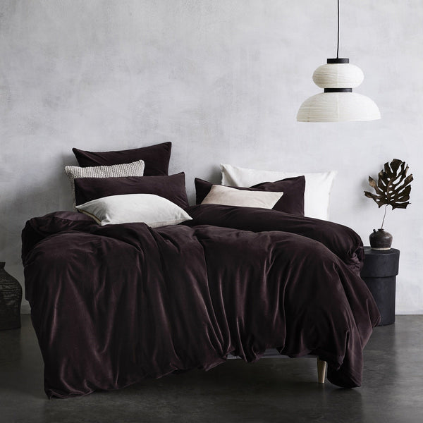 Aura | Aura Lux Velvet Quilt Cover - FIG - King | Shut the Front Door