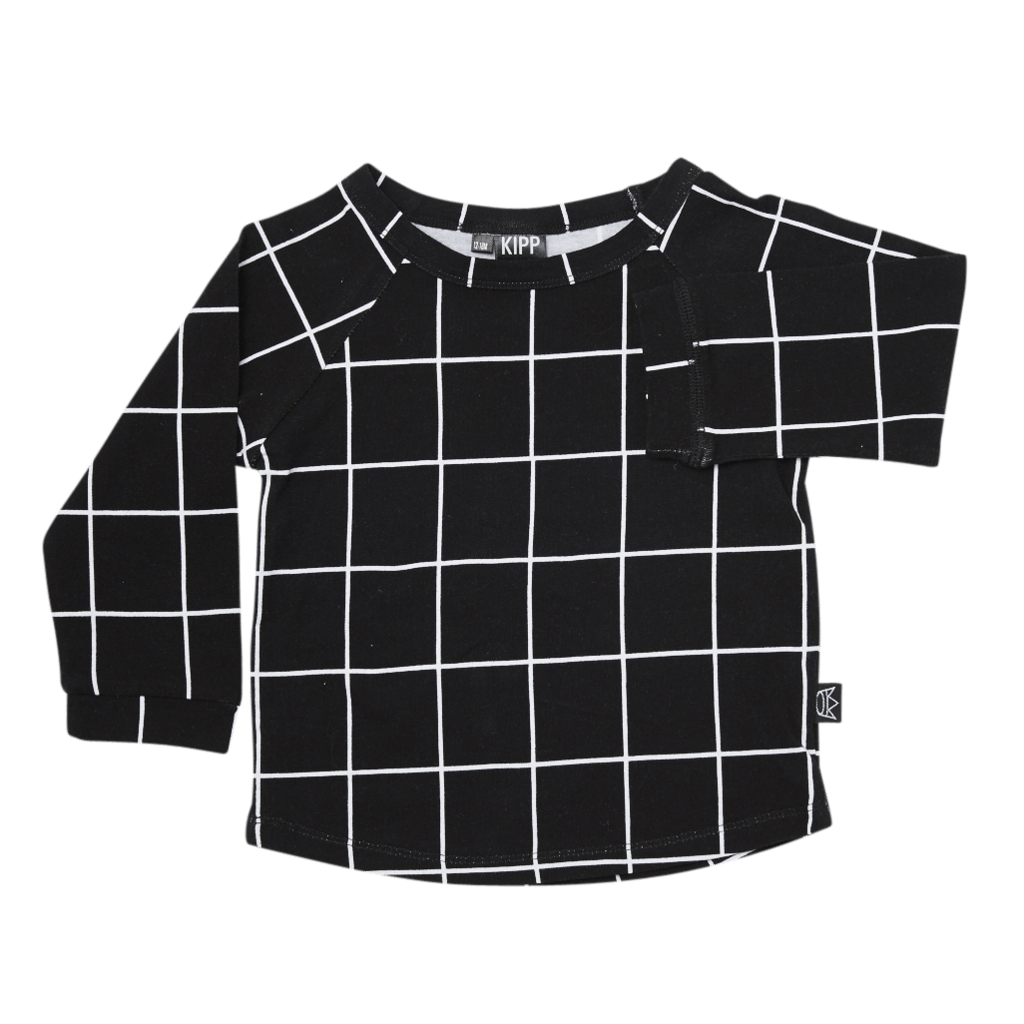 Kipp Kids | Long Sleeve T-Shirt in Black Check | Shut the Front Door