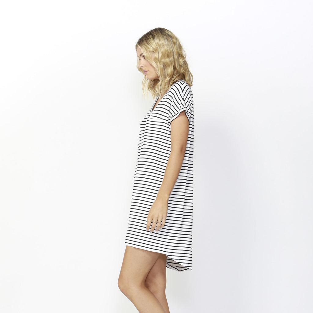 Betty Basics | Arizona Dress Black/White Stripe | Shut the Front Door